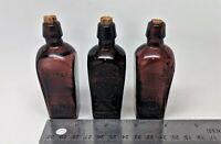 """Lot of 3 Vintage 3"""" Purple Straubhuller's Wheaton Miniature Bottles"""