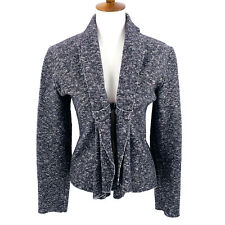 EVA TRALALA Black White Tweed Draped Front Blazer Size Medium Jacket