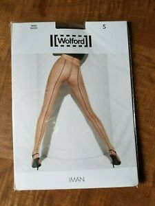 Wolford IMAN TIGHTS  SIze S Black/Black Sheer tights net pattern Brand New