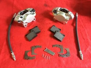 PAIR TRIUMPH SPITFIRE & LATE HERALD TYPE 14 BRAKE CALIPERS PADS, FITTINGS HOSES