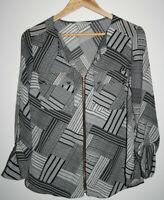 George Fashion Women's Geometric Black White Office Shirt Blouse Top Size 12