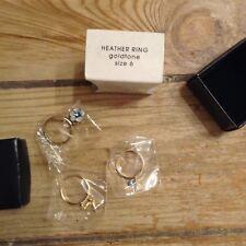Avon Heather Ring Size 6 Blue Stackable Goldtone NIB