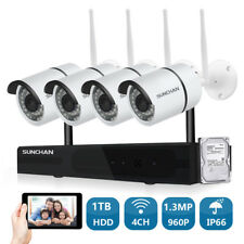 SUNCHAN 4CH 960P Wireless Outdoor Security Camera System WIFI NVR CCTV Kits 1TB