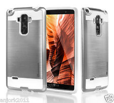 SILVER/WHITE ANTI-SHOCK METALLIC CASE HYBRID COVER FOR LG G STYLO VISTA 2 LS770