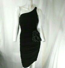 Ruby Rox One Shoulder Women's Black Formal Dress w Silver Lined Flower 8