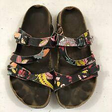 Birkenstock Birki's Sandals Leaf Patterned Straps Size US Women's 7 / 7.5 Narrow
