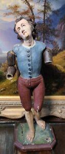 Antique Italian Articulated Saint Santos Model Figure 18th century Glass eyes