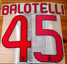 2013-14 AC MILAN AWAY SHIRT BALOTELLI #45 UFFICIALE STILSCREEN NOME NUMERO SET