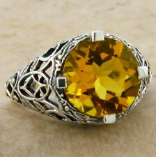 3.5 CT. LAB CITRINE ANTIQUE FILIGREE DESIGN .925 STERLING SILVER RING SZ 7,#522