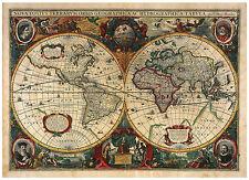 The World Europe Asia America decorative illustrated vintage map Hondius ca.1633