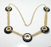 "22"" Technibond Black Onyx Gemstone Chain Necklace 14K Yellow Gold Clad Silver"