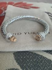 David Yurman Sterling Silver 7mm Cable Bracelet With Morganite and Diamonds