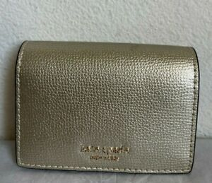 NWT Kate Spade Sylvia Mini Key Ring Bifold Leather Wallet PWRU7239 Pale Gold