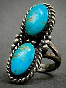 Vintage Navajo Native American Sterling Silver Turquoise Ring Beautiful Stones!!