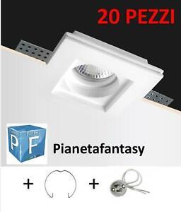 Porta Faretto in Gesso Ceramico da incasso 20 pezzi + Molla e Portalampada PF5