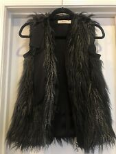 Lanvin for H&M Black Faux Fur w/Ribbon Zip Vest Sz S