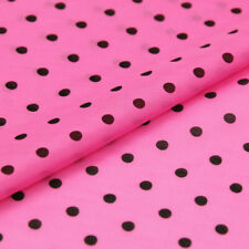 Black polka dot on pink background silk cotton blended fabric soft thin,SCT648