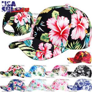Hawaiian Hat Baseball Cap Adjustable Hawaii Floral Curved Bill Solid Men Women