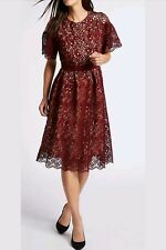 BNWT M&S Collection Burgundy Floral Lace S/Sleeve Skater Midi Dress Size UK 10
