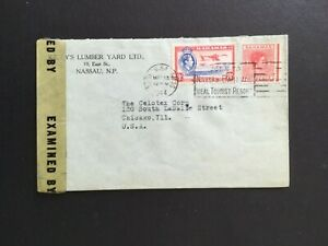 BAHAMAS 1944 KELLYS LUMBER YARD ADVERT CENSORED COVER WITH 8d TO USA