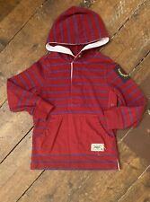 Tommy Hilfiger Boys Hooded Top 4-5 Years Red And Blue Striped