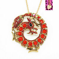 Women's Crystal Dragon Animal Pendant Chain Betsey Johnson Necklace/Brooch Pin