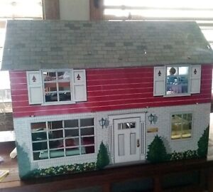 1950s Litho MARX Metal Two Story Doll House WITH Furniture and Dolls!!
