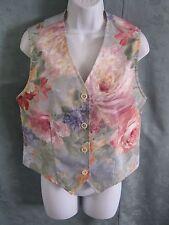 Vintage Joan Walters Floral Print Vest Size Small Waistcoat