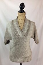 The Limited: Taupe & ivory chunky KNIT short sleeve sweater, SHAWL collar size S
