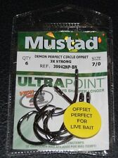 6 Mustad 39942BLN Ultra Point Size 7/0 3X Strong Demon Circle Hooks 39942BLN-70