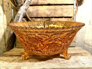 Imperial Glass Lustre Rose Marigold Carnival Glass Large Footed Fruit Bowl