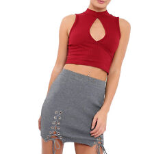 Keyhole Crop Top Sleeveless Ribbed Cutout Summer Holiday Wrapover Vest Top Cheap