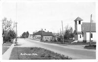 Brethren Michigan~Methodist Church & Striped House & Outbuilding RPPC 1948