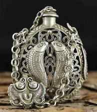 Collect Antique Tibet Silver Carve Hollow Out Pair Fish Delicate Snuff Bottle