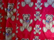 72� X 74� Homemade Christmas Teddy Bear Red Blanket Bells Holly Xmas