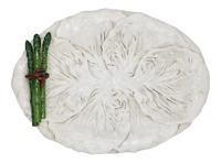 Mid Century Italian Ceramic White Cabbage Leaf and Asparagus Platter