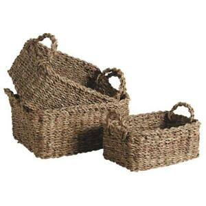 Seagrass Wicker Basket Storage Shelf Organiser Woven Box Hamper With Handles