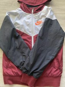 Nike Full Zip Windbreaker Jacket Burgundy Red/White Size Youth M Hoodie Boys