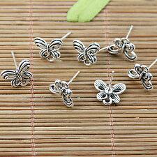 10pcs tibetan silver tone butterfly earring post EF1755