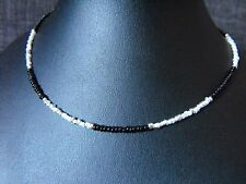 "14"" - 22"" glass beaded collar choker necklace Black & White Glass Seed Bead"