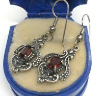 Vintage Sterling Silver Earrings 925 Red Stone Dangle Signed $