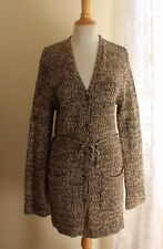 Jones New York -Sz L Long Funky Cotton Knit Artsy Lagenlook Sweater Cardigan