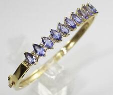 14K Yellow Gold Marquise Tanzanite & Round Diamond Bangle Bracelet 6.00ct 22.6g