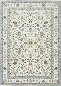 Fine Nain 10'x14' Ivory Wool Hand-Knotted Oriental Rug