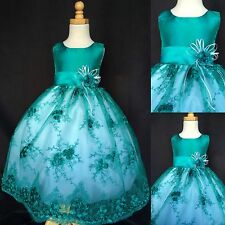 Floral Embroidery Dress Flower Girl Easter Summer Fall Christmas Pageant #011