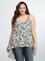 Torrid Womens Gray Floral Ruffle Tank Top Sleeveless Roses High Low Size 3 3X