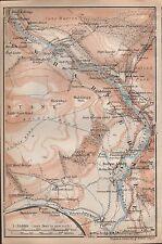1910 BAEDEKER Antico Mappa-UK-Wharfedale, Bolton Abbey, la Torre STRID, Barden