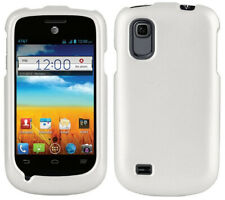 WHITE RUBBERIZED PROTEX HARD CASE COVER FOR AT&T ZTE AVAIL-2 Z992 & PRELUDE Z993