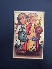 #K932- Vintage Unused Xmas Greeting Post Card Angel & Boy Playing Soccer
