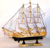 """2 boats 9"""" WOOD SAIL BOAT pirate ship models collect gift wooden sailing ships"""